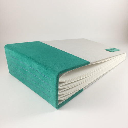 Teal Suede and Moon Cloth Blank Guest Book