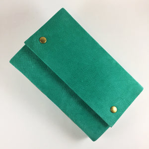 Teal Suede Leather Journal with Bronze Snaps
