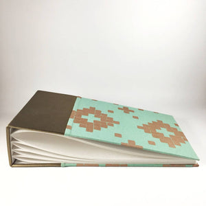 Gorgeous Bronze Leather and Turquoise and Gold Patterned Instax Mini Album