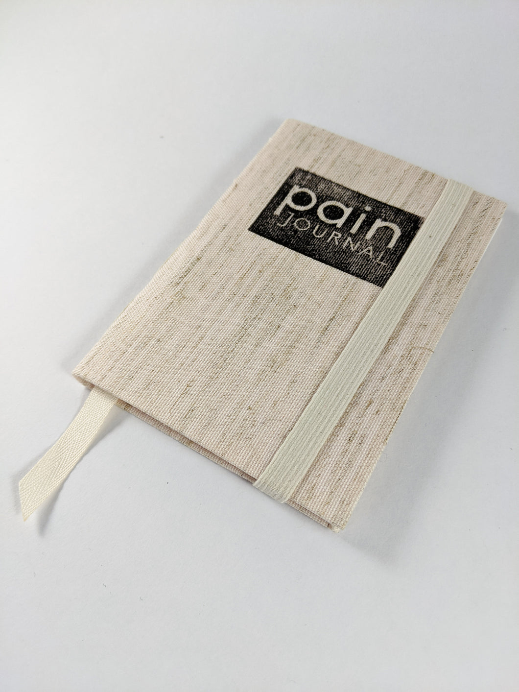 Pain and Symptom Journal in Natural Linen Cloth and White Thread