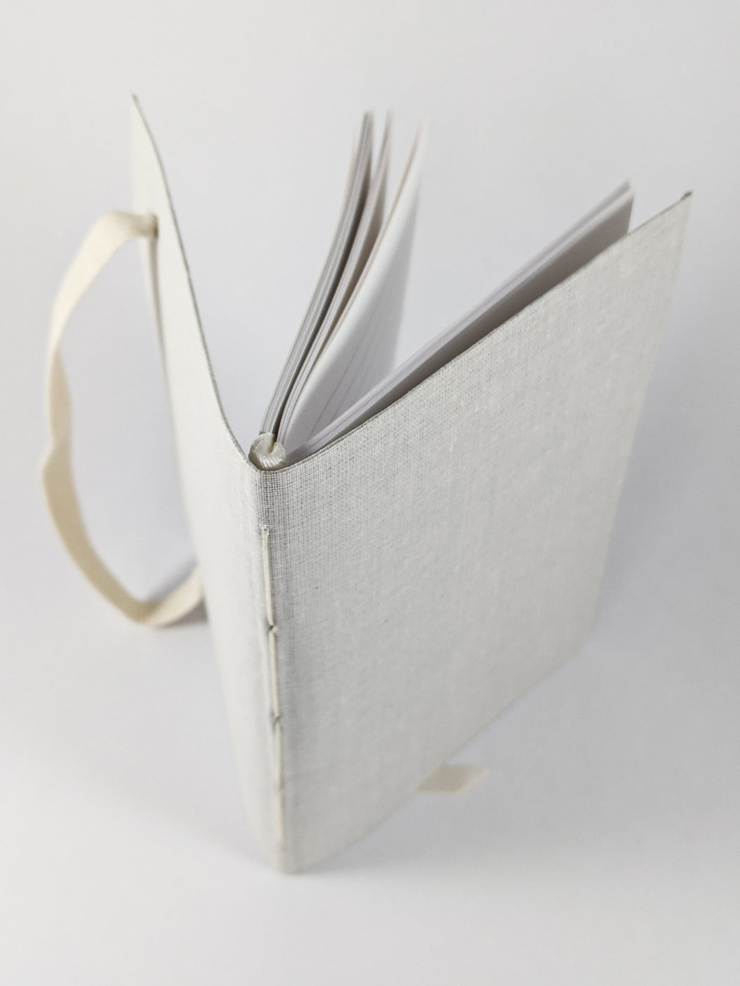 Moon Cloth Lined Notebook with White Strap and Ribbon Bookmark