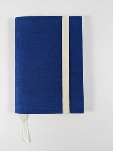 Blue Cloth Lined Notebook with White Strap and Ribbon Bookmark