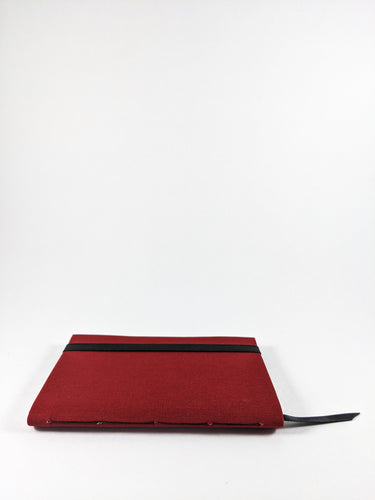 Red Cloth Lined Notebook with Black Strap and Ribbon Bookmark