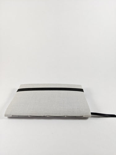Moon Cloth Lined Notebook with Black Strap and Ribbon Bookmark