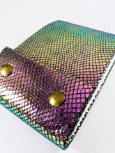 Sketchbook in Rainbow Iridescent Textured Leather with Bronze Snap Closures