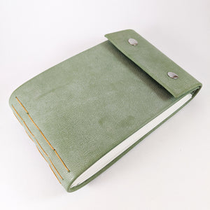 Sage Seafoam Green Leather Sketchbook with Butterscotch Thread and Silver Snaps