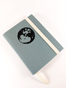 Dusty Blue Linen Astrology Birthday Calendar Book with Black Moon Print and White Thread