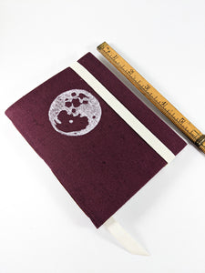 Burgundy Linen Astrology Birthday Calendar Book with White Moon Print and White or Burgundy Thread