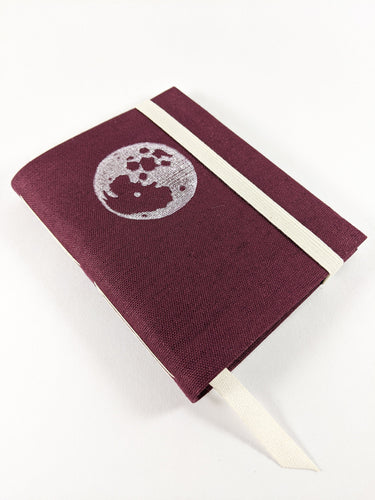 Burgundy Linen Astrology Birthday Calendar Book with White Moon Print and Brown or Burgundy Thread