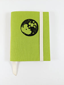 Lime Green Linen Astrology Birthday Calendar Book with Black Moon Print and Yellow Thread