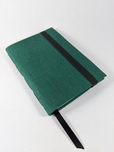 Green Linen Lined Notebook with Black Strap and Ribbon Bookmark