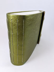 Green Gold Leather Sketchbook with Olive Green Thread and Bronze Snaps