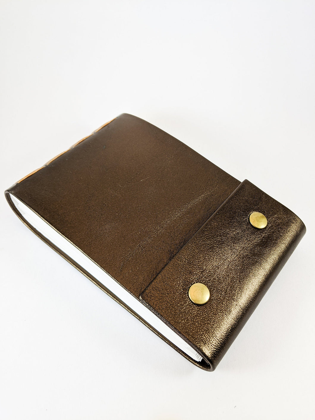 Bronze Leather Sketchbook with Butterscotch Thread and Bronze Snaps