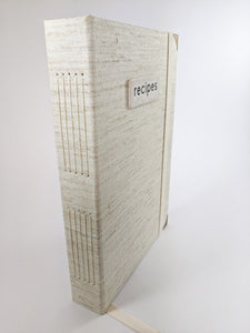 Natural Linen Recipe Book for Your Recipes with Personalized Tabs for Organizing, a Ribbon Bookmark and Elastic Strap