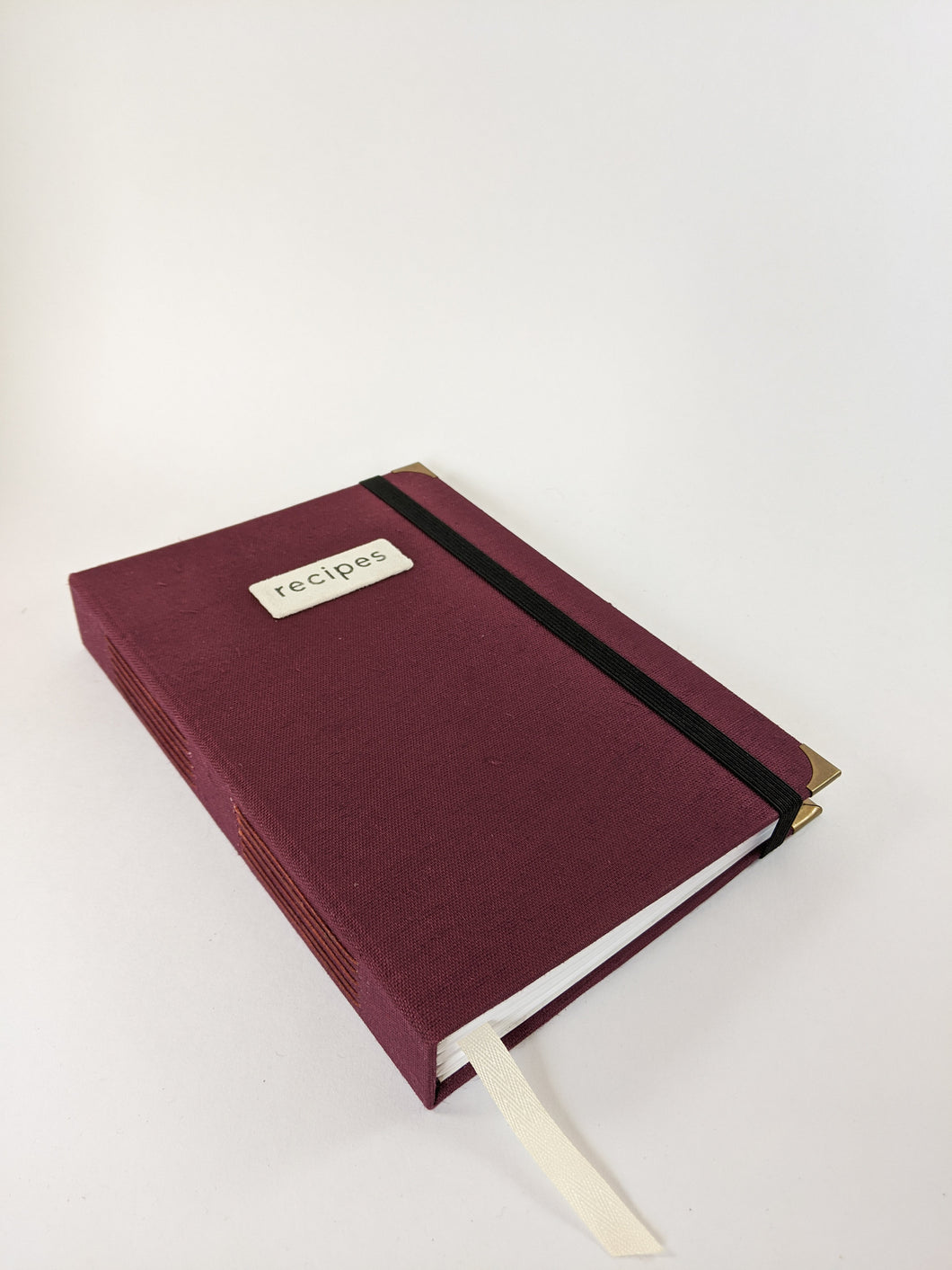 Burgundy Linen Recipe Book for Your Recipes with Personalized Tabs for Organizing, a Ribbon Bookmark and Elastic Strap