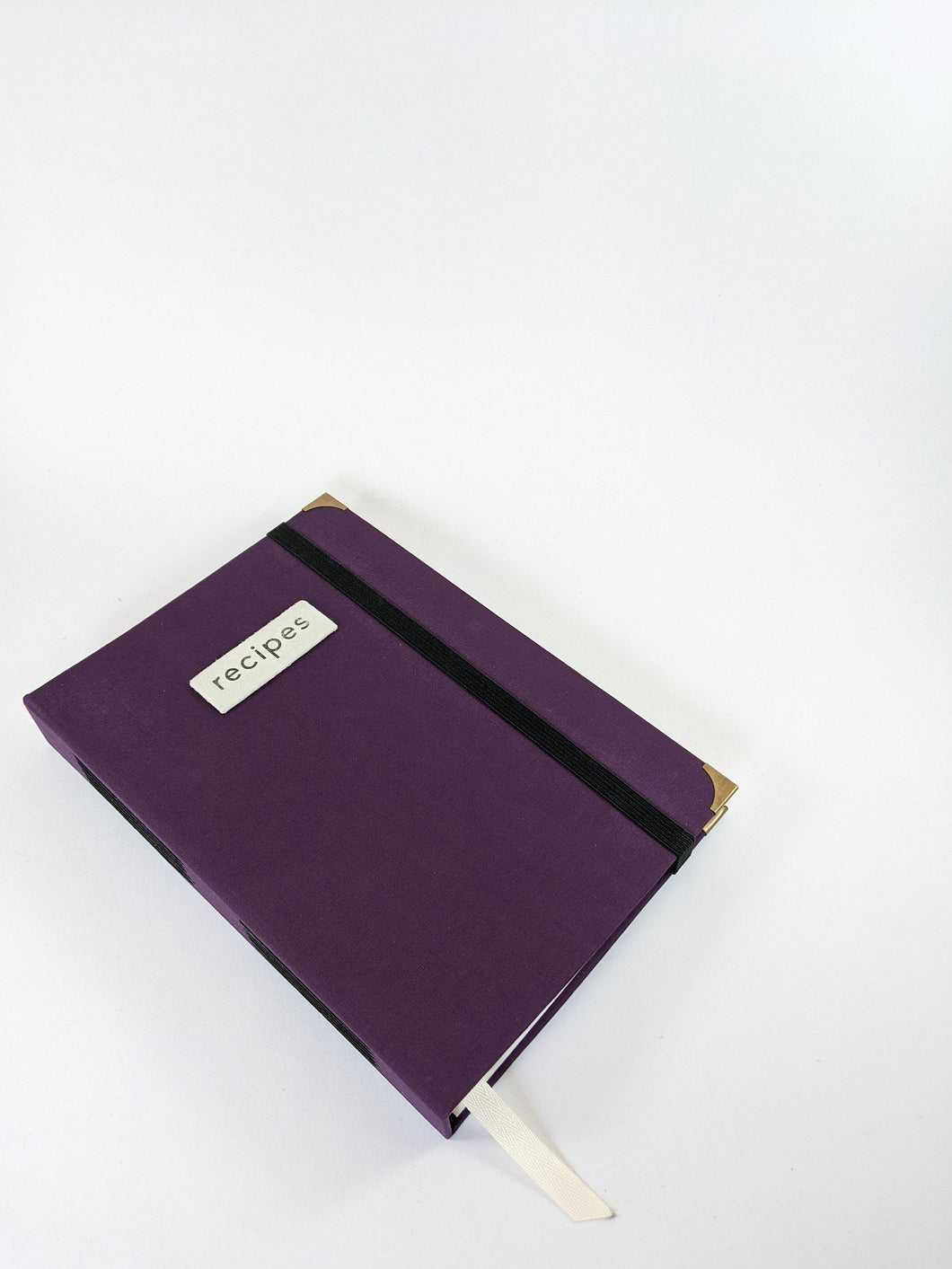 Plum Recipe Book for Your Recipes with Personalized Tabs for Organizing, a Ribbon Bookmark and Elastic Strap