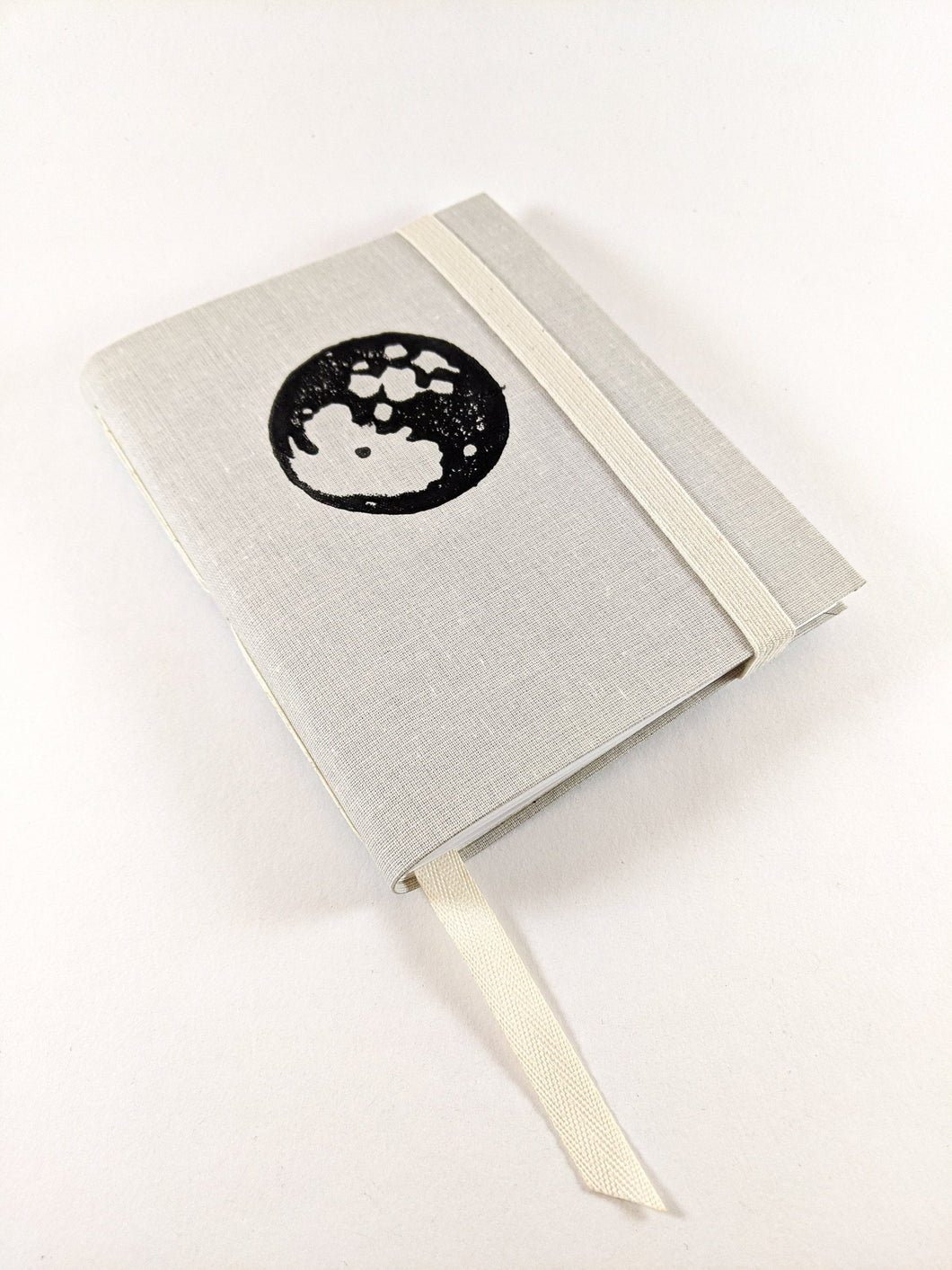 Moon Cloth Astrology Birthday Calendar Book with Black Moon Print and White Thread