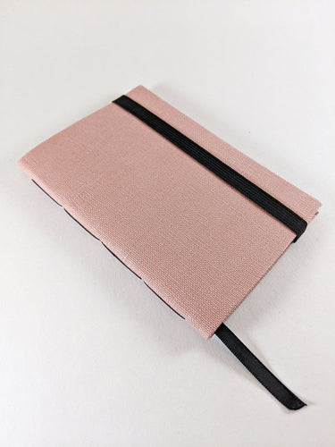 Rose Linen Lined Notebook with Black Strap and Ribbon Bookmark