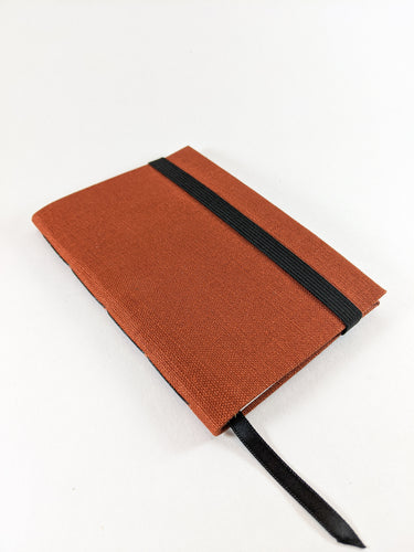 Terracotta Linen Lined Notebook with Black Strap and Ribbon Bookmark