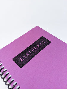 Birthday Calendar Journal in Purple Book Cloth