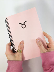 Pink Taurus Astrology Sign Lined Notebook