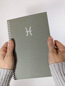Sage Green Pisces Astrology Sign Lined Notebook DISCOUNTED