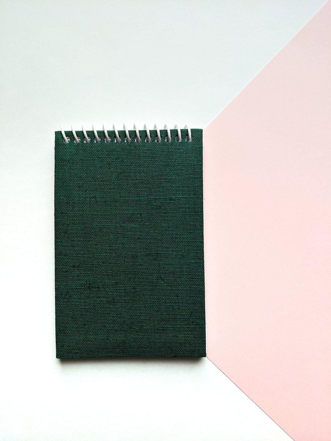 Green Cloth Coil Bound To Do Notebook