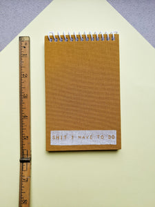 Mustard Cloth Coil Bound To Do Notebook