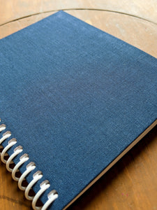 Navy Blue Cloth Coil Bound Lined Notebook