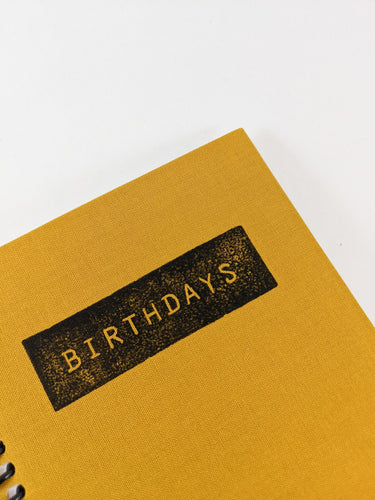 Ochre Yellow Birthday Calendar Book, Birthday Reminder and Perpetual Calendar