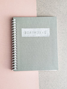 Sage Green Birthday Calendar Book