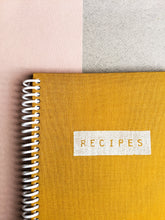 Mustard Cloth Coil Bound Recipe Book