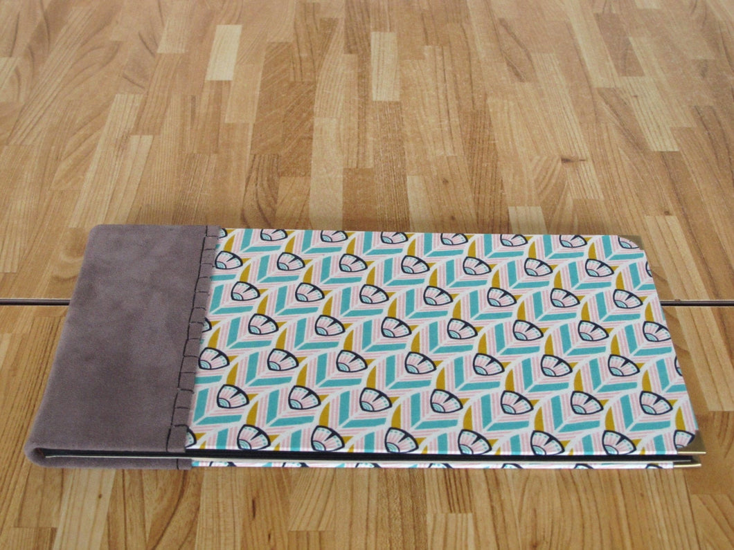 Hand Bound Photo Album with Grey Suede, Cotton Book Cloth and Black Paper Pages
