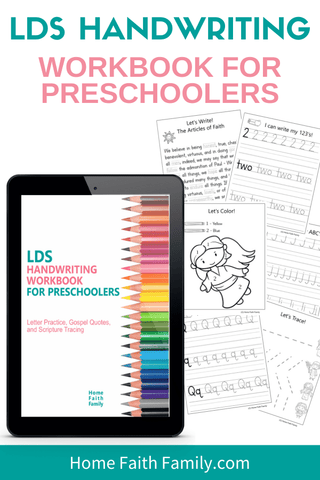 LDS gospel centered printables for preschoolers to learn colors, handwriting, and scriptures.