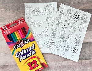 Halloween coloring sheets with packet of 12 count colored pencils for fun non-candy activity.