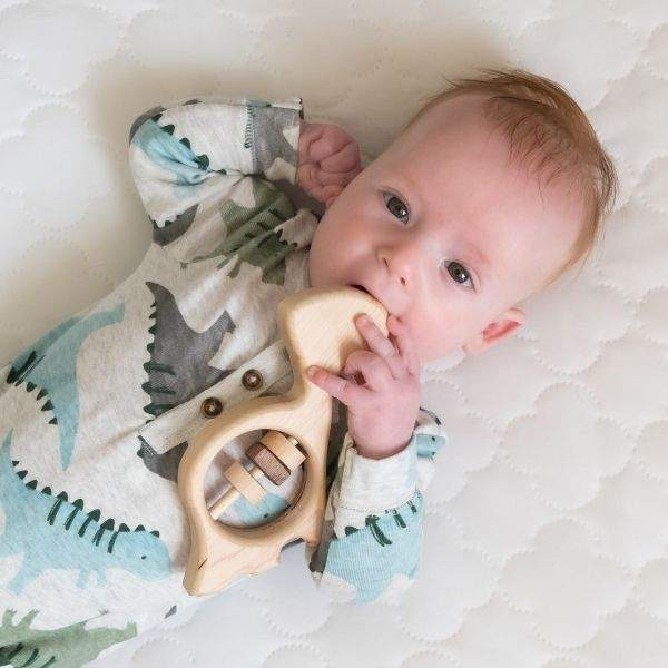 baby boy chewing on organic wooden baby dinosaur rattle.