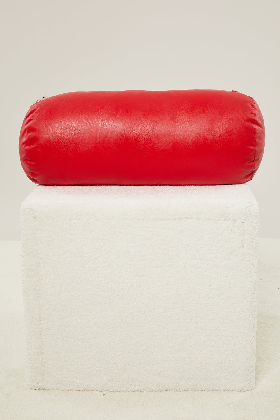 CaSa Vegan Leather Roll Pillow in Tomato