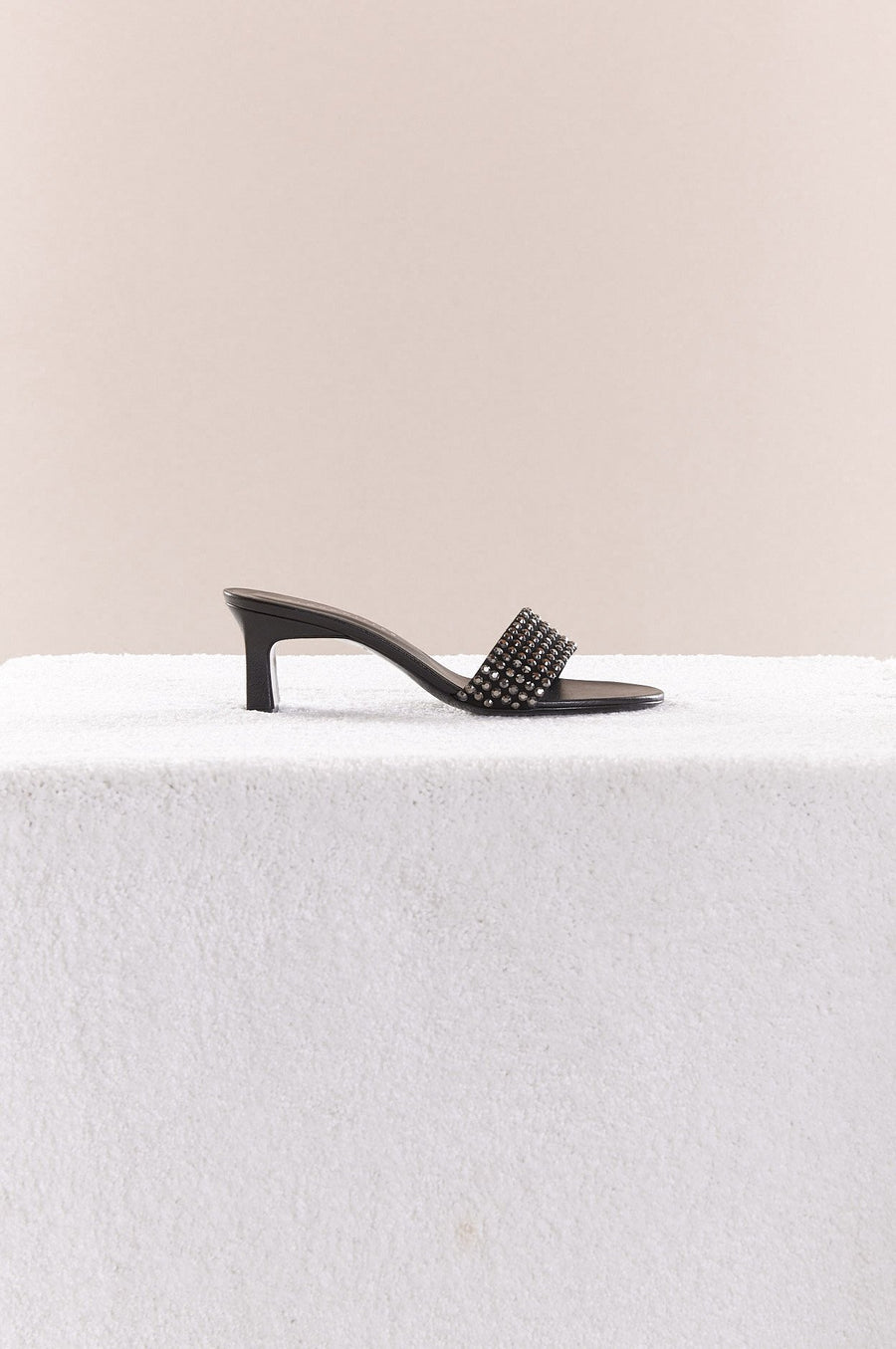 Hush Heel in Black + Black Crystal