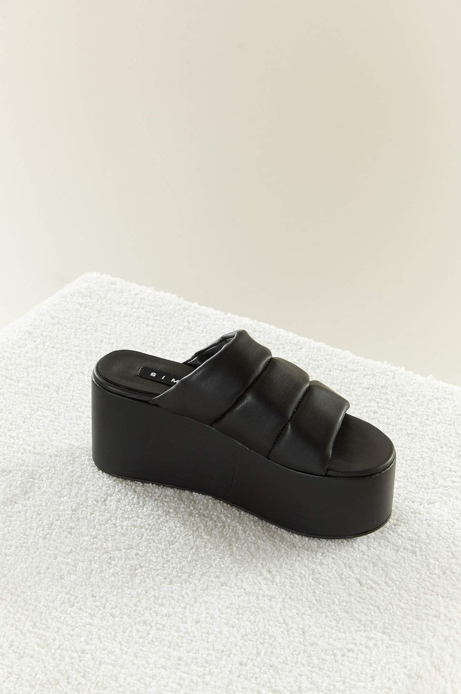 VEGAN LEATHER Coaster Platform in Black