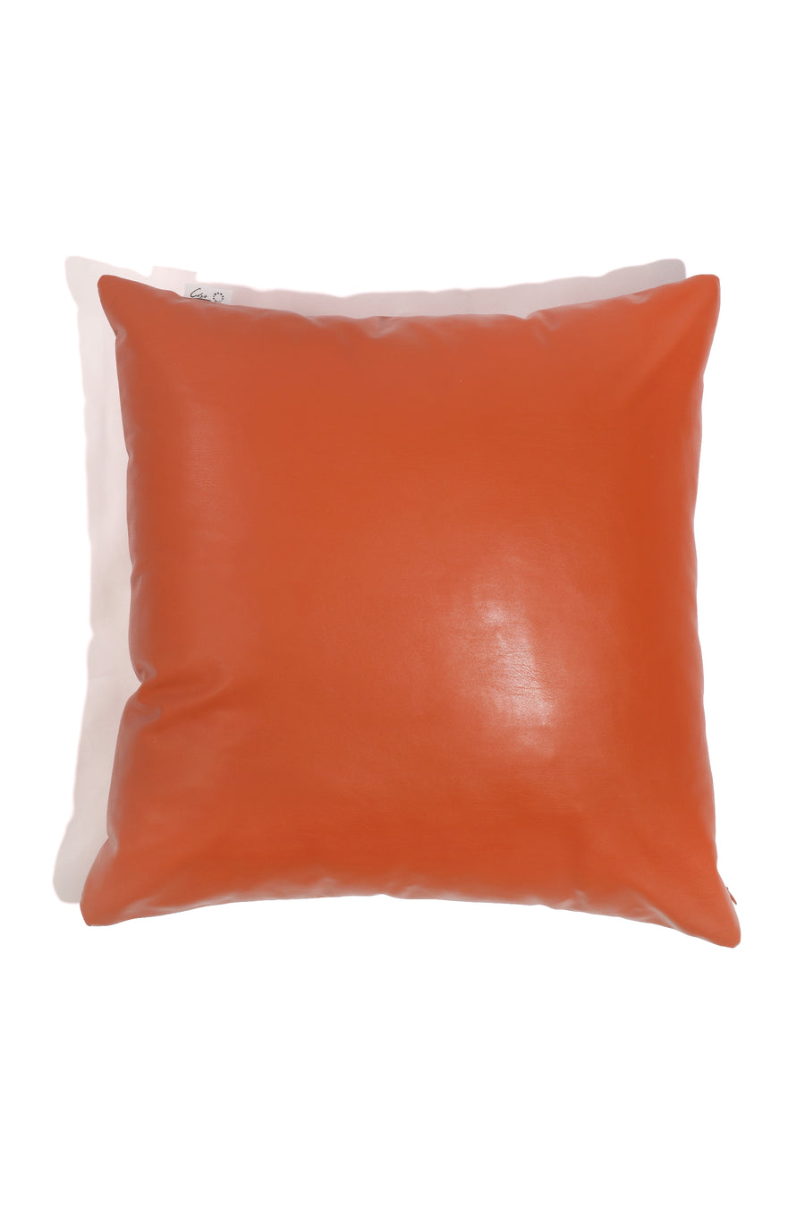 CaSa Vegan Leather Square Pillow in Squash