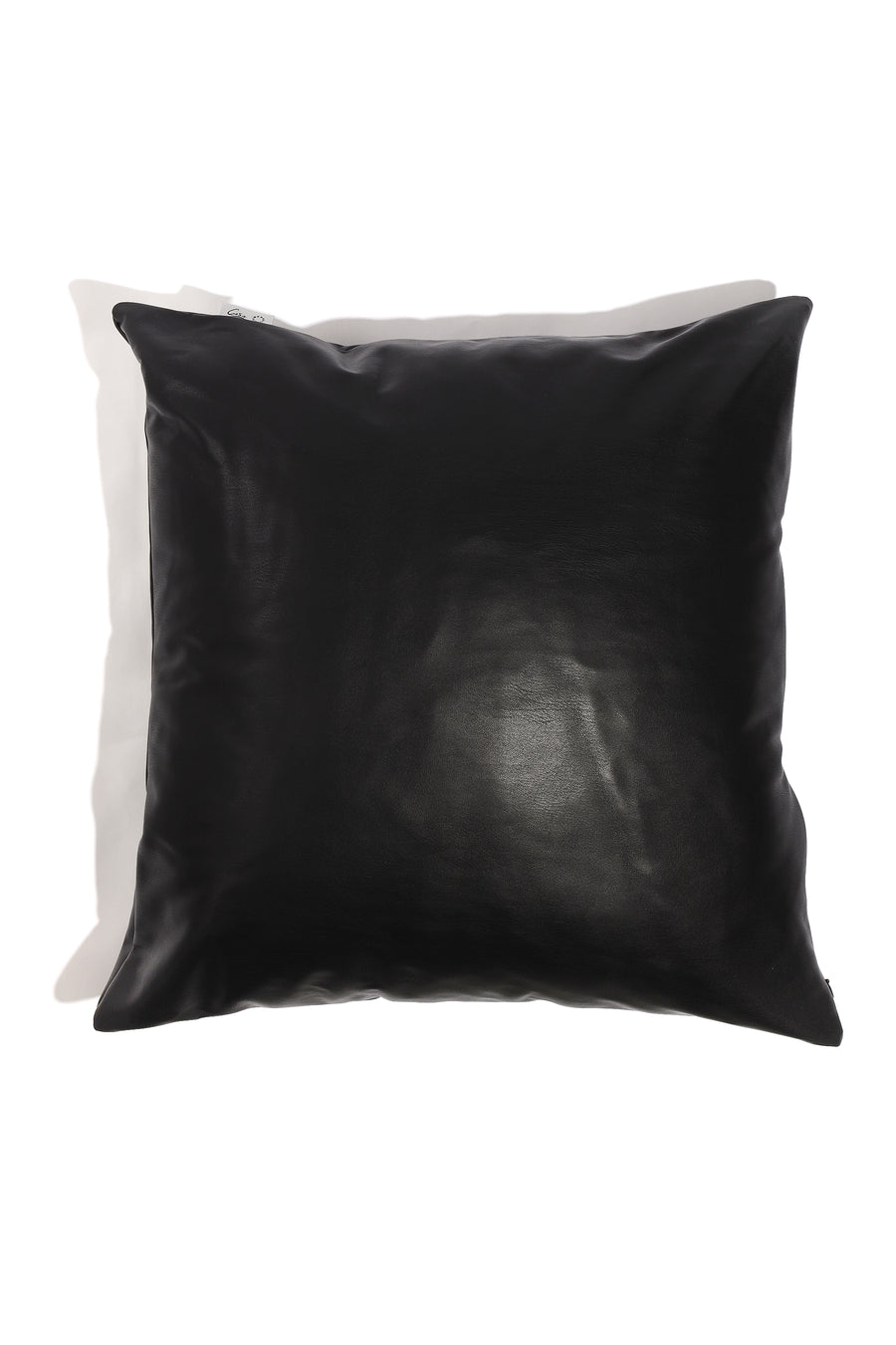 CaSa Vegan Leather Square Pillow in Black