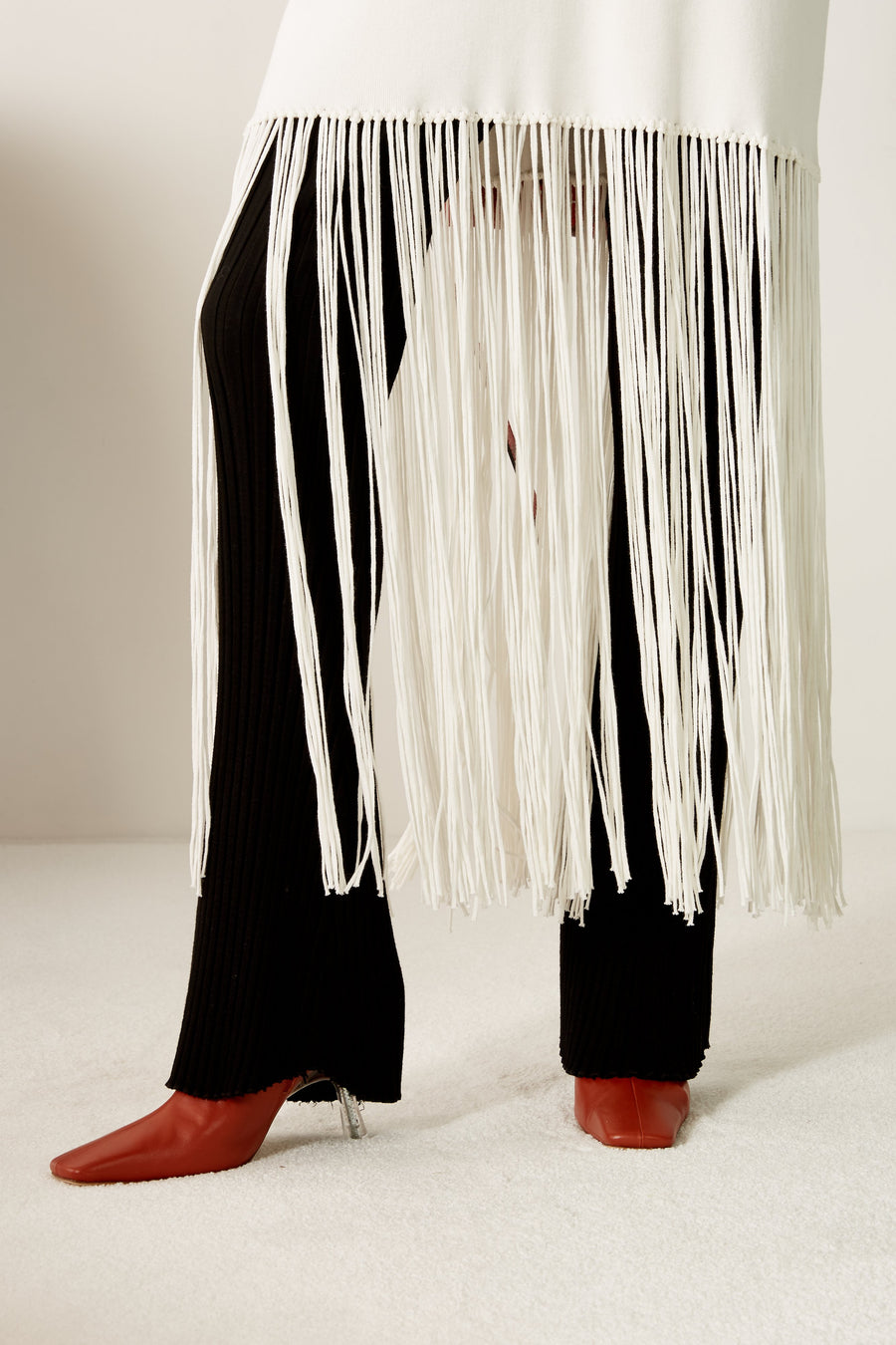 Evita Fringe Sweater Dress in White