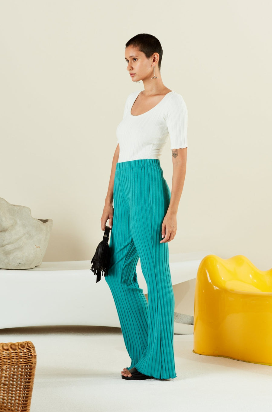 RIB CYRENE PANT IN POOL