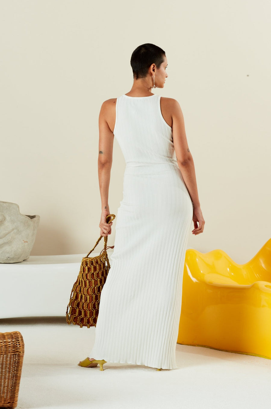 RIB LANI DRESS IN MACADAMIA