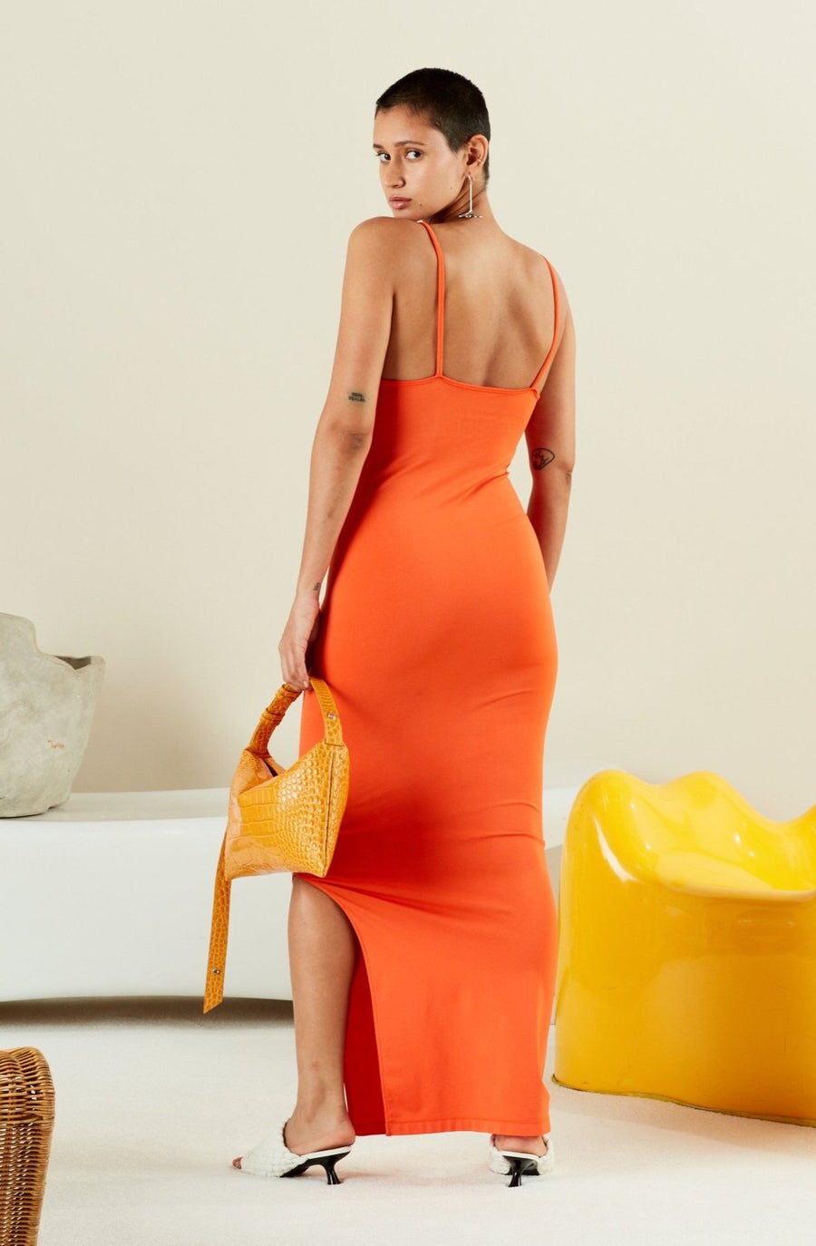 STRETCH Anders Dress in Coral