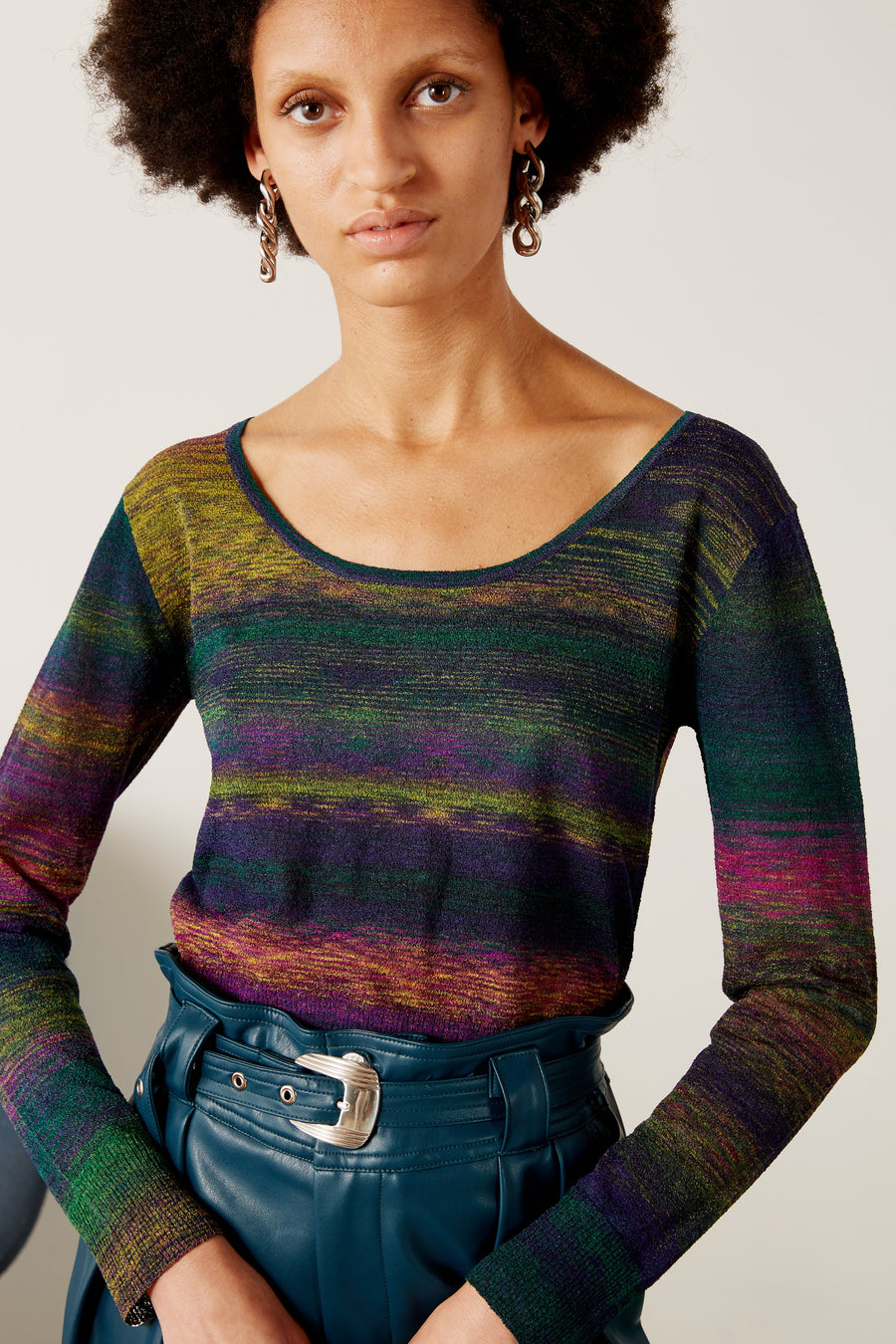 Amo Scoop Neck Sweater in Sawada Powder-Teal