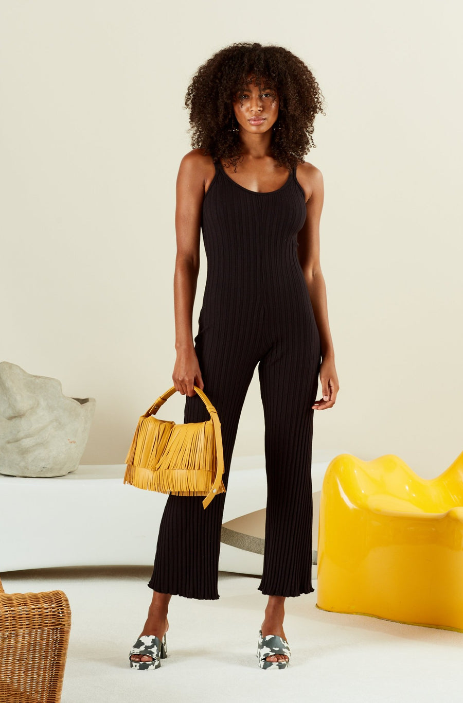 RIB MALO JUMPSUIT IN BLACK