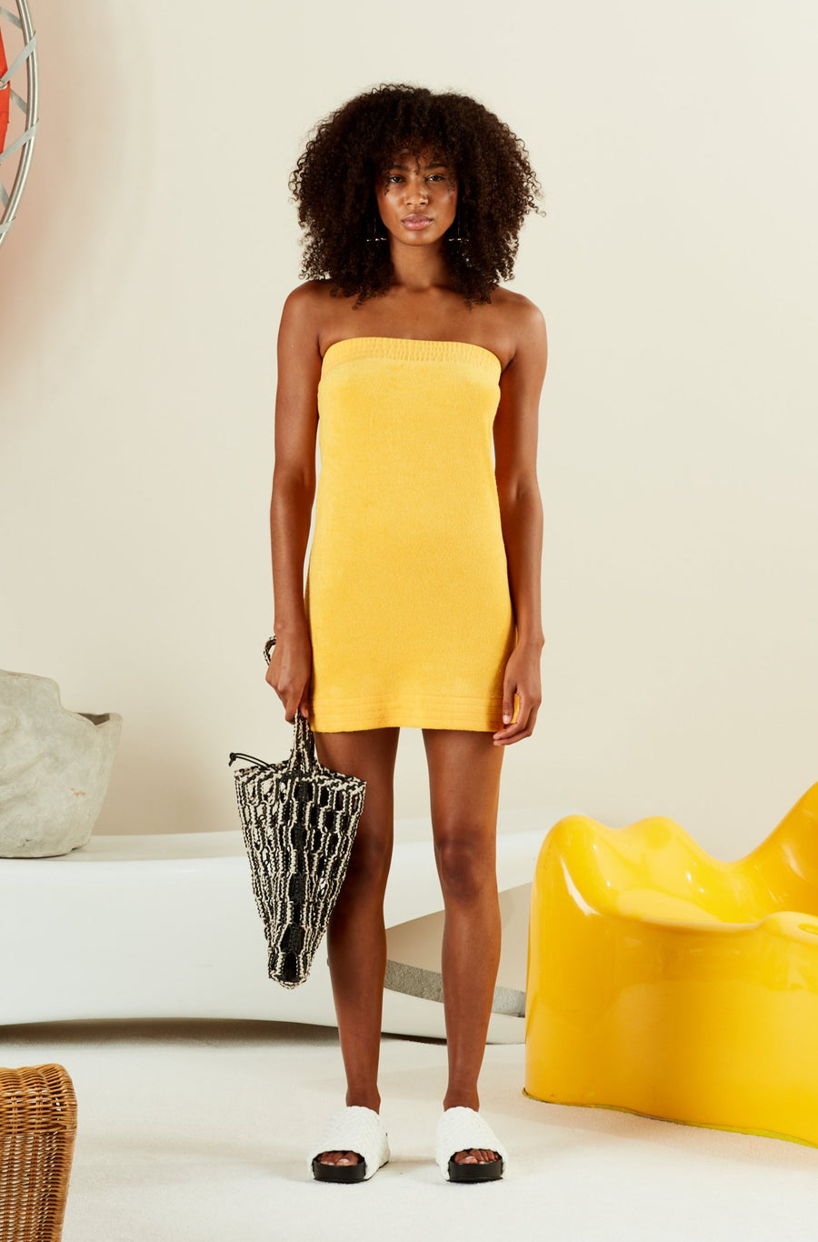 TERRY POI DRESS IN YOLK YELLOW
