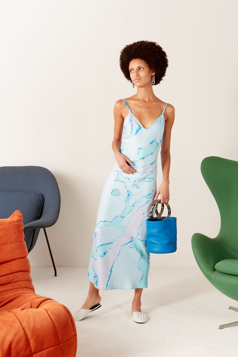 Esmond Dress in Blue Summer Abstract Print