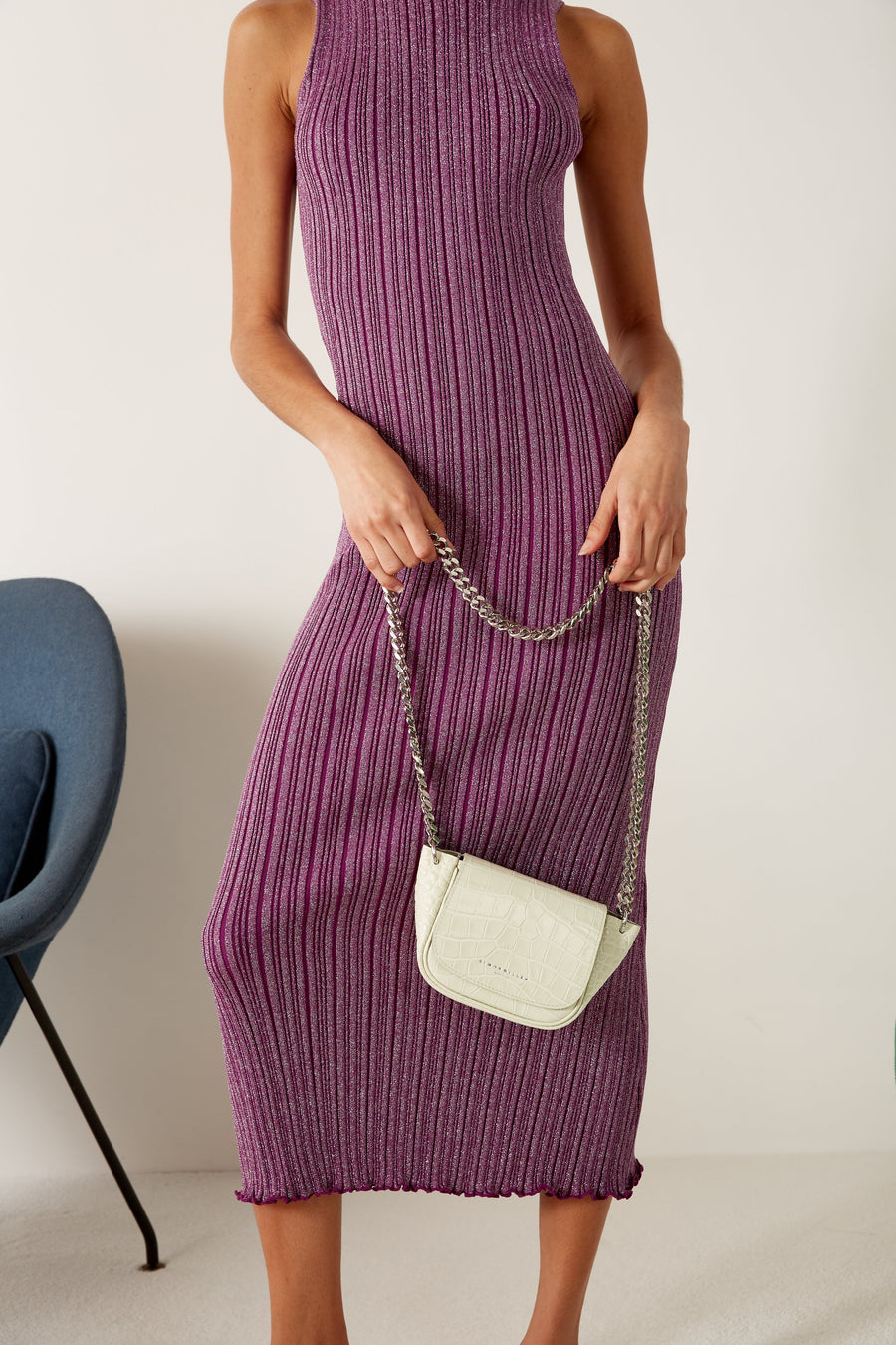 Benny Rib Tank Dress in Purple Disco